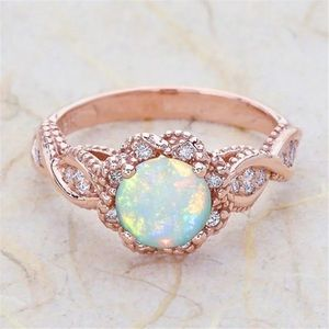 Silver, Rose Gold Opal Engagement Anniversary Ring